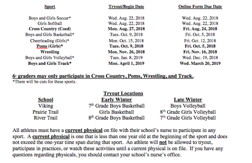 2018-2019 Sports Information